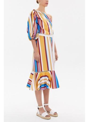 Societa Tek Omuz Godeli Midi Elbise 92802 Hardal